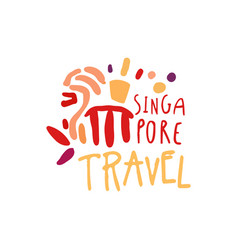 Travel to singapore marina bay sands logo design vector