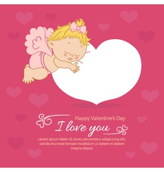 Valentines Day with an angel greeting card vector image