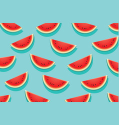 Watermelon slice on blue background summer time vector