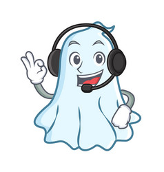 with headphone cute ghost character cartoon vector image