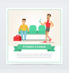 Young men going to training gym interior fitness vector