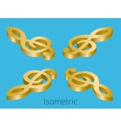 Isometric treble clef vector