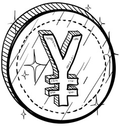 Doodle currency coin yen vector