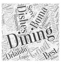 Dining at orlando word cloud concept vector