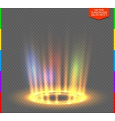 Round yellow glow rays night scene on transparent vector image