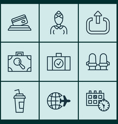 Set of 9 airport icons includes appointment vector