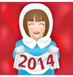 Girl new year 2014 vector