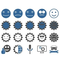 Tools and smile gears icons vector