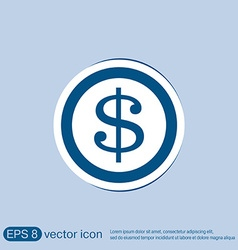 Dollar coin symbol of money vector