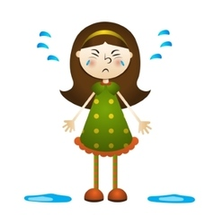 Cartoon of a little girl crying vector