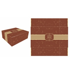 Square brown cake box vector