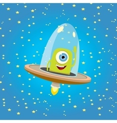 Ufo alien  flying saucer vector