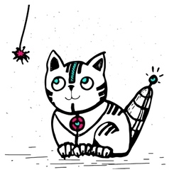 Cat robot is going to play with a rope vector
