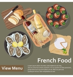 French food basket with wine and food flat lay vector