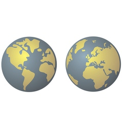 Planet earth in yellow and denim blue vector
