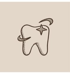 Shining tooth sketch icon vector