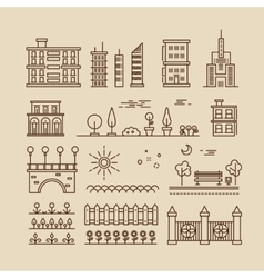 Linear cityscape landscape elements and buildings vector