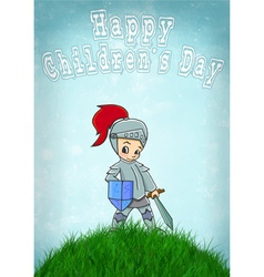 Knight happy childrens day vector