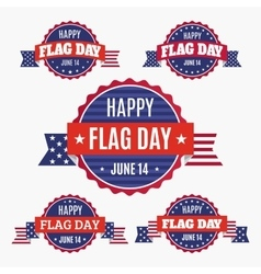 Usa flag day badges set vector