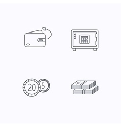Coins cash money and wallet icons vector