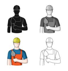 Builder masonprofessions single icon in cartoon vector