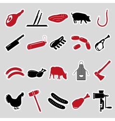 Butcher and meat shop black and red stickers set vector