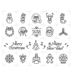 Christmas icons set holiday symbols new year vector