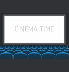 Cinema with white screen and blue seats vector