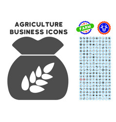 grain harvest icon with agriculture set vector image vector image