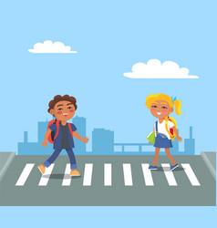 Kids crossing street on pedestrian in urban city vector