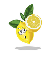 Lemon cute character surprised with half cut lemon vector