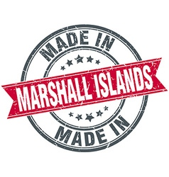 Made in marshall islands red round vintage stamp vector