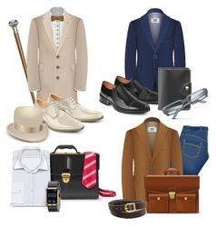Male fashion accessories set 3 vector