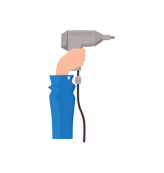 male hand holding electric drill flat style icon vector image vector image