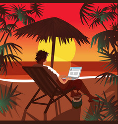 Man working on notebook on beach at sunset vector