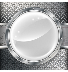 Metal banner with metal grill vector image
