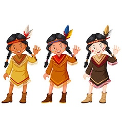 Native american indians in brown costume vector
