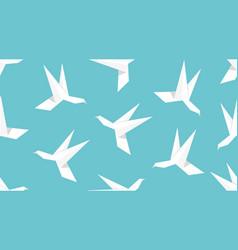 origami humingbird bird seamless pattern vector image