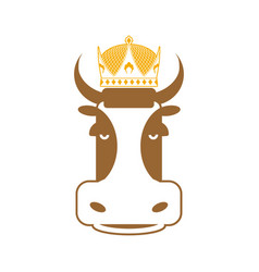 royal beef cow in crown sign for meat production vector image vector image