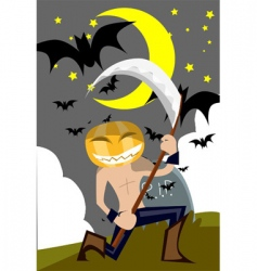 scary pumpkin vector image vector image