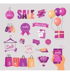 Set of sale flat stickers tags concepts vector