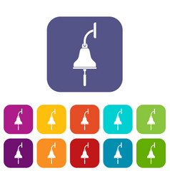 ship bell icons set flat vector image