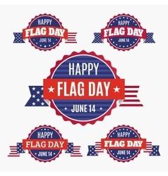 USA Flag day badges set vector image