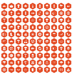 100 mushrooms icons hexagon orange vector
