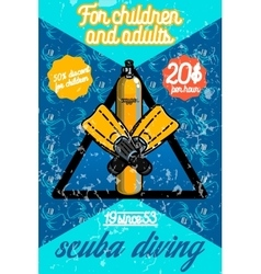 Color vintage diving poster vector