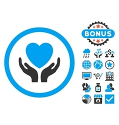 Charity hands flat icon with bonus vector