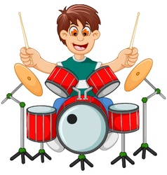 Funny boy cartoon playing drum vector