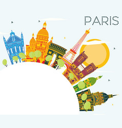 Paris skyline with color buildings blue sky and vector