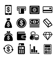 Money and bank icon set vector