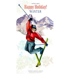 Watercolor postcard with young man skier for your vector